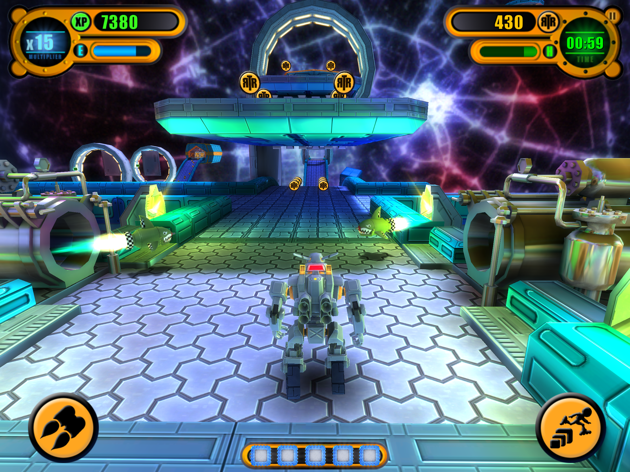 A screenshot of the game taken on iPad 3 using Gunhead Robot